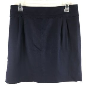 J Crew Navy Wool Scallop Pleated Pencil Skirt Sz 6